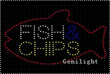 LED Sign Fish Chips