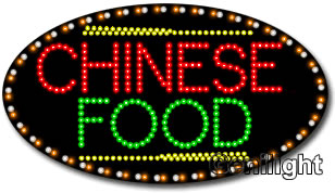 LED Sign with Chinese Food